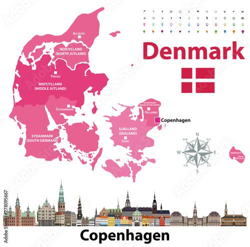 Canvas-taulu Denmark map and flag with Copenhagen  city skyline