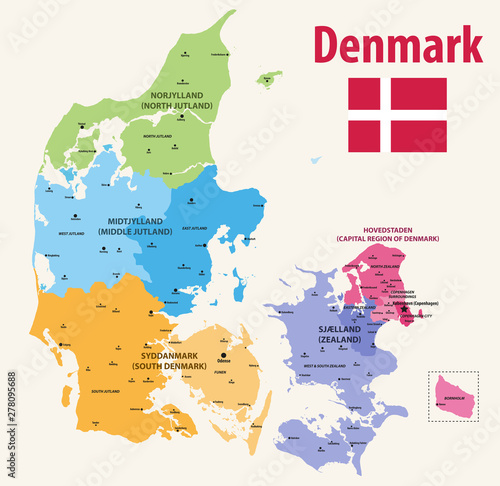 vector map pf Denmark provinces colored by regions with main cities on it Wallpaper Mural