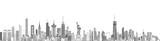 Fototapeta Nowy York - New York cityscape line art style vector detailed illustration. Travel background