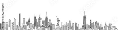 Fototapeta New York cityscape line art style vector detailed illustration. Travel background  obraz