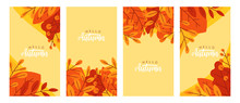 Collection Of Autumn Color Banners. Vector Illustration With Autumn Leaves. Seasonal Sale Posters, Social Media Banners, Cover Design Templates.