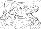Fototapeta Dinusie - Cartoon tyrannosaurus coloring book