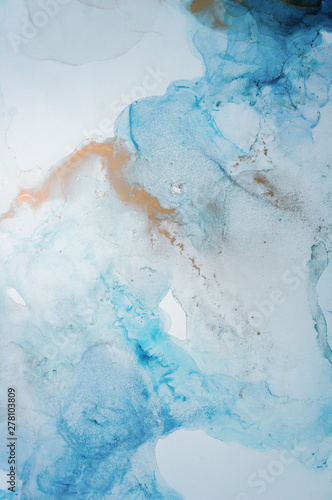 Fototapety, obrazy: The picture is painted in alcohol ink. Abstraction will perfectly fit into a modern interior. Closeup of the painting. Colorful abstract painting background.