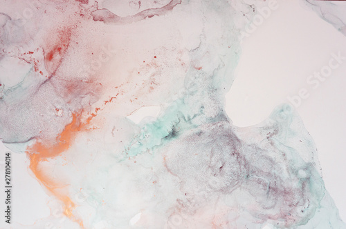 The picture is painted in alcohol ink. Abstraction will perfectly fit into a modern interior. Closeup of the painting. Colorful abstract painting background. - 278104014