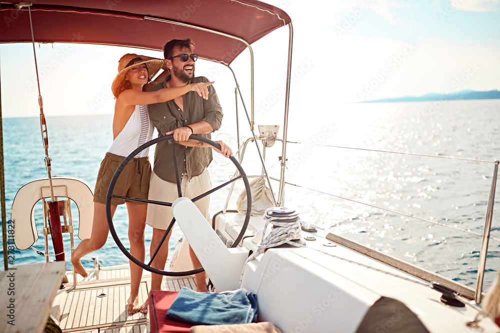 Fototapety, obrazy: luxury couple on the boat enjoy on summer holiday.