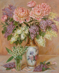 Panel Szklany Kwiaty Painting still life with lilies of the valley, lilacs and peonies in a Chinese vase painted with oil paints on canvas