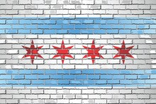 Shiny Flag Of Chicago On A Brick Wall - Illustration, Abstract Grunge Vector Background
