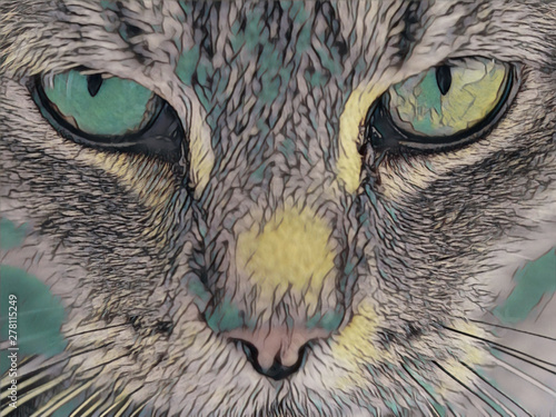 Fotobehang Hand getrokken schets van dieren Close up cat - illustrated