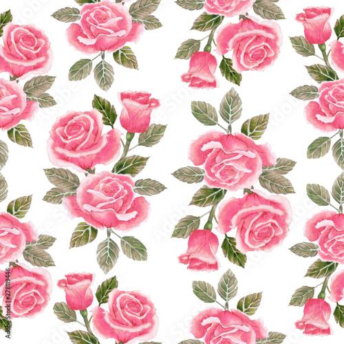 Watercolor seamless pattern with beautiful red roses.  Can be used as romantic background for wedding invitations, greeting postcards, prints, textile design, packaging design © shoer
