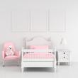 Leinwanddruck Bild - Three empty photo frame for mockup in white child bedroom interior, 3D rendering