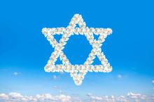 Religion Symbol Judaism . Blue Sky . David Star On Blue Sky