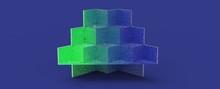 Diseño De Podio Para Presentación De Producto De Diseño. Render Tridimensional De Escalones Con Iluminación De Reflectores Y Diferentes Materiales Brillantes Y Con Patrones. Fondo Colorido 3d