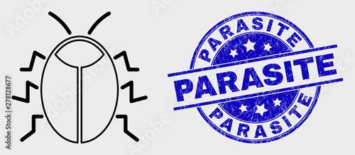 Vector stroke bug pictogram and Parasite seal stamp Wallpaper Mural