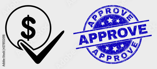 Vector linear valid dollar coin icon and Approve watermark Wallpaper Mural