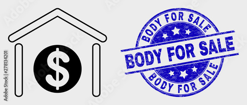 Vector contour dollar garage bank pictogram and Body for Sale seal stamp Canvas Print
