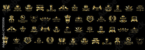 Photo  VIP / Royal Logo Set isolated on black background vector