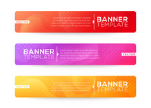 Abstract Web Banner Design Background Or Header Templates. Fluid Gradient Shapes Composition With Colorful Bright Colors