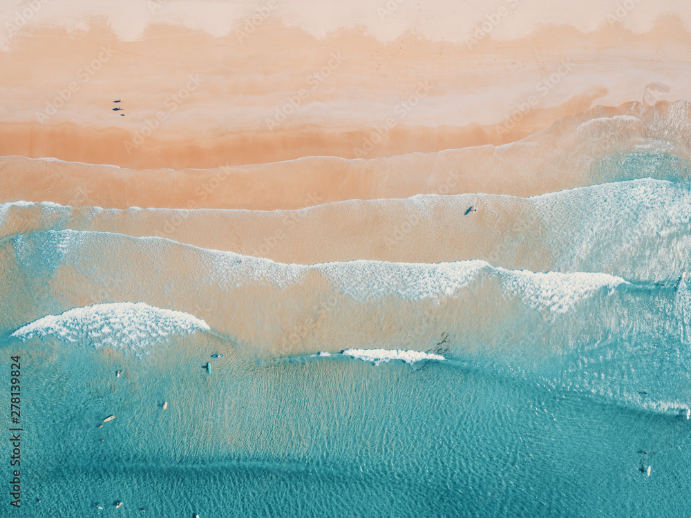 Fototapety, obrazy: Aerial view to tropical sandy beach and blue ocean. Top view of ocean waves reaching shore on sunny day. Palawan, Philippines.