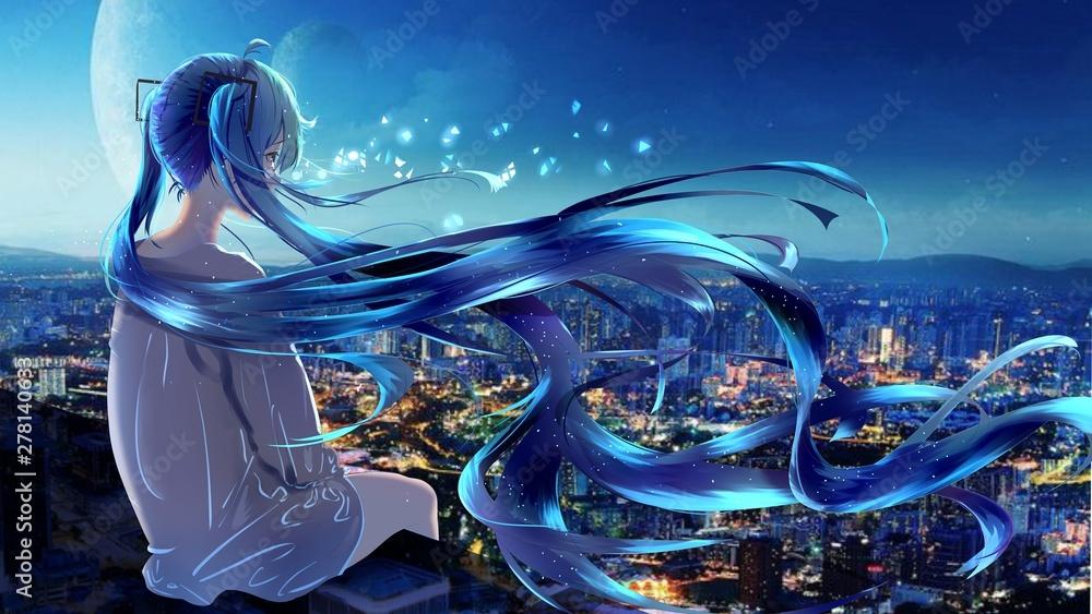 Fototapety, obrazy: anime girl alone 5k illustration