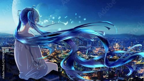 anime girl alone 5k illustration - 278140633