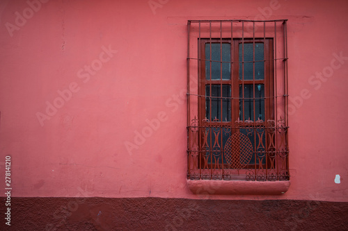 Red Window on Pink Wall of Building in Chiapas, Mexico