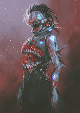 Creepy Zombie With Bloody Mouth In The Middle Of Body, Digital Art Style, Illustration Painting