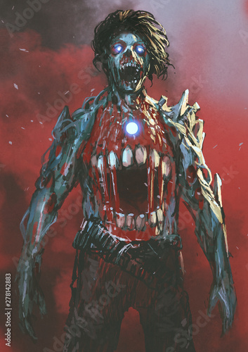 aggressive zombie with bloody mouth in the middle of body, digital art style, illustration painting