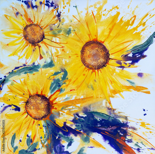 Illustration of three modern ornately painted sunflower Fototapete