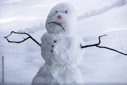Photo Sad snowman frowning in Sierra winter snow - California