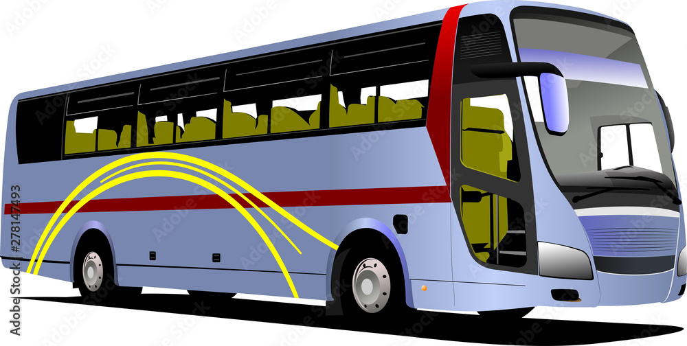 Fototapety, obrazy: Blue tourist or City bus on the road. Coach. Vector illustration