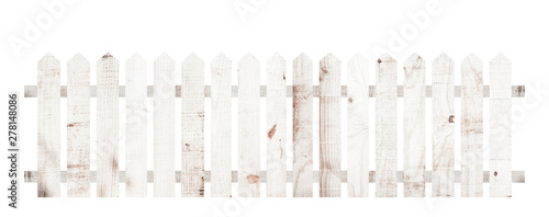 Fotografia White wooden fence isolated on a white background that separates the objects