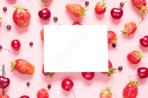 Creative layout of berries with space for text on white paper. Mockup. View from above. - Image - 278149283