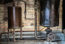 Rusty Boiler Room Pipes. Old M...
