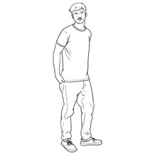 Hand-drawn Vector Illustration Of A Man Who Is Standing Cool And Has Hands In His Pockets. Scribble, Outline, Comic, Ink, Sketch, Doodle, Vector, Illustration, Line, Cartoon, Black, White, Drawing.