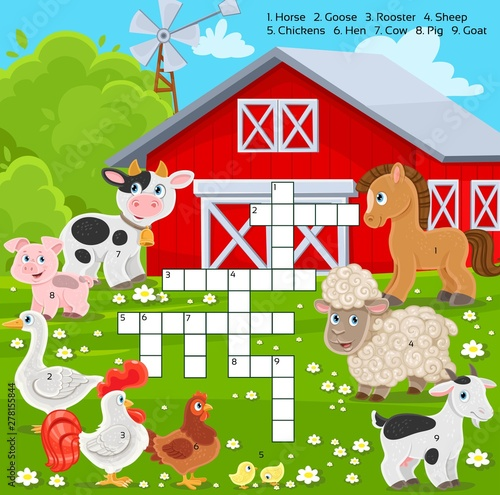 Crossword education game for children about farm animals
