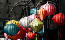 Colorful Vietnam Traditional Style Lantern Hanging Closeup View