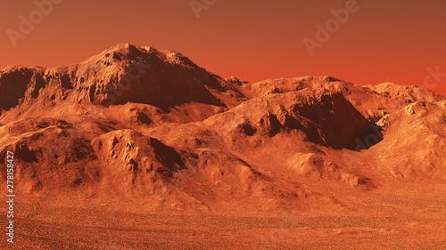 Foto auf Gartenposter Ziegel Mars landscape, 3d render of imaginary mars planet terrain, science fiction illustration.