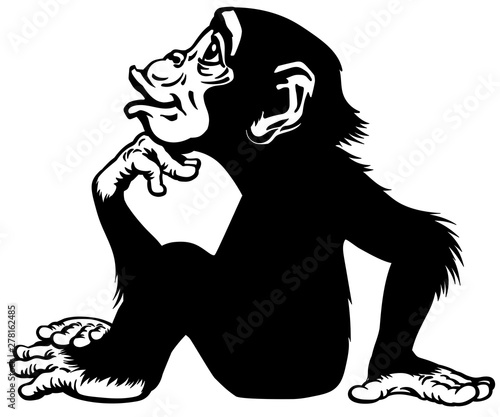 Tableau sur Toile Cartoon Chimpanzee in thinker profile