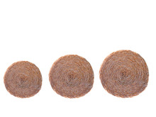 Three Round Hay Bale Isolated