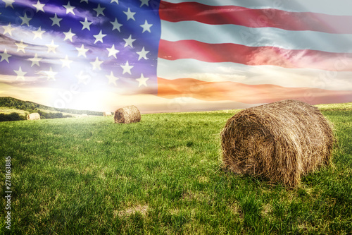 Photo National agricultural industry concept - idyllic farm field with hay bales on on the background of the USA flag (mixed)