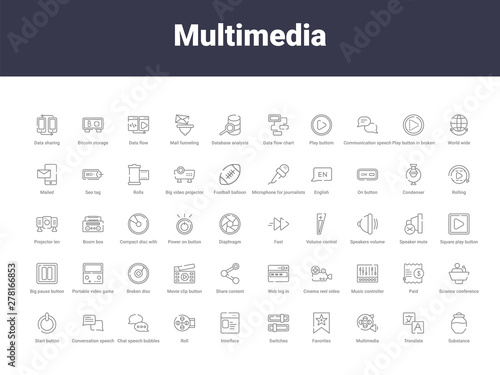 Photo multimedia outline icons