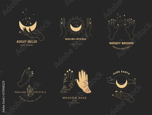 Foto Collection of fine, hand drawn style logos and icons of hands