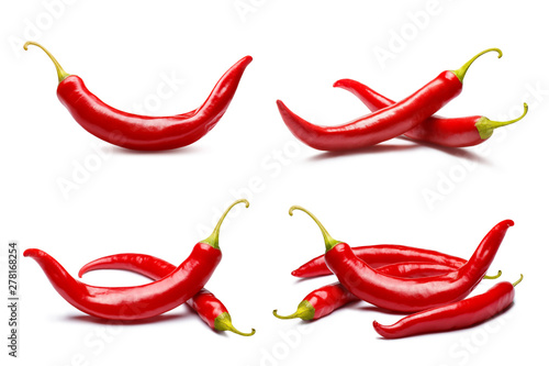 Collection of red chili peppers, isolated on white background