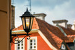 Leinwandbild Motiv Historic old town market colorful building with street lantern in Poznan