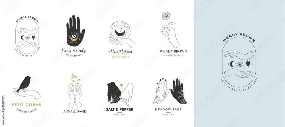 Fototapeta Collection of fine, hand drawn style logos and icons of hands. Esoteric, fashion, skin care and wedding concept illustrations. Vecor design