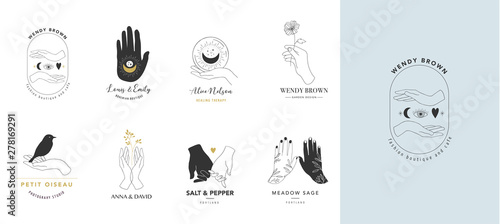 Collection of fine, hand drawn style logos and icons of hands. Esoteric, fashion, skin care and wedding concept illustrations. Vecor design