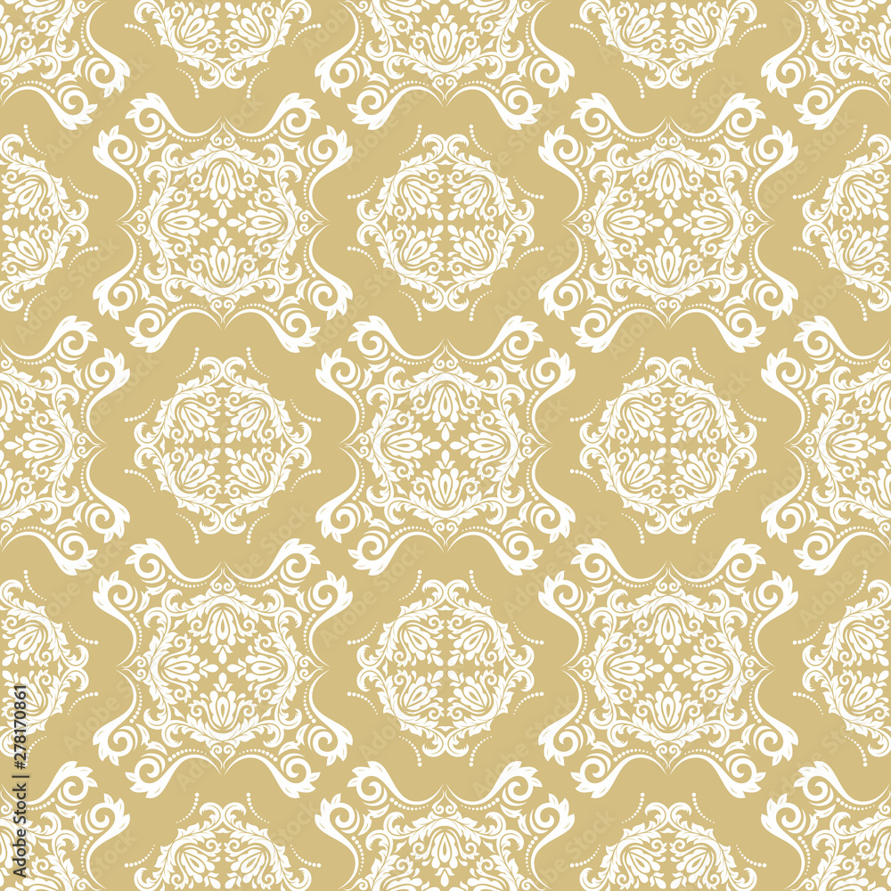 Orient classic golden and white pattern. Seamless abstract background with vintage elements. Orient background