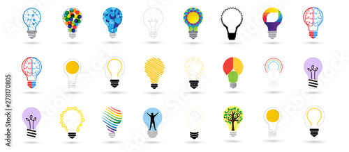 Bulb Icons Set - Isolated On Gray Background. Vector Illustration, Graphic Design. For Web, Websites, Print, Presentation Templates, Mobile Applications And Promotional Materials. Idea Concept