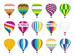 Colorful air balloon illustration vector. Zig zags, wavy lines, striped or checkered patterns on vintage style hot air balloon