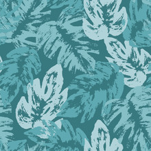 Vector Tropical Leaves Seamless Pattern. Palm Leaves Summer Design Ideal For Wallpaper, Textile And Wrapping.